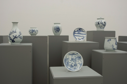 Hair on the white porcelain, installation view